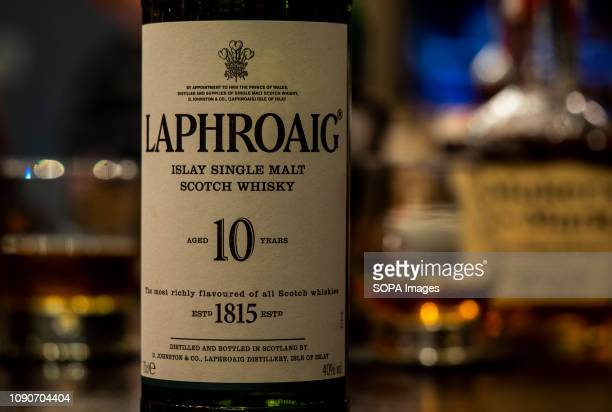 Laphroaig 10 Year Old Scotch Whisky seen at the Rooster Grill Bar counter in Kiev