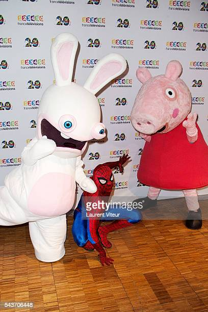 Lapin Cretin Spiderman and Peppa Pig attend the 'Rendezvous du 29' Photocall at France Television on June 29 2016 in Paris France