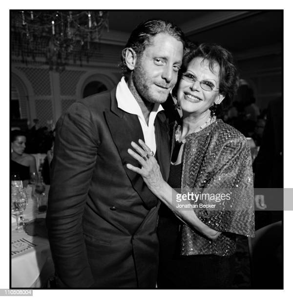 Lapo Elkann and actress Claudia Cardinale are photographed at Vanity Fair Cannes Party at the Eden Roc, Cap d'Antibes for Vanity Fair Magazine on May...