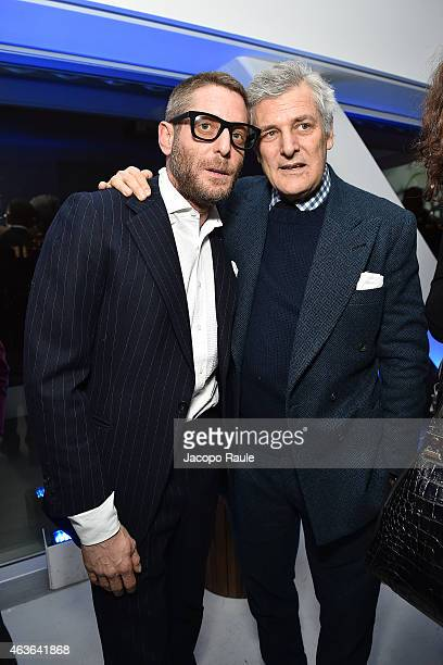 Lapo Elkann and Alain Elkann attend ItaliaIndependent Boutique Opening After Party at the Sky Room at the New Museum on February 16 2015 in New York...