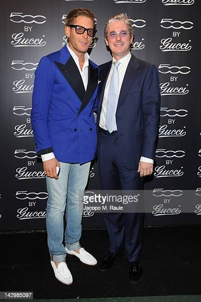 Lapo Elkann and Andrea Tessitore attend 500 by Gucci Short Film Collection cocktail party on April 16 2012 in Milan Italy