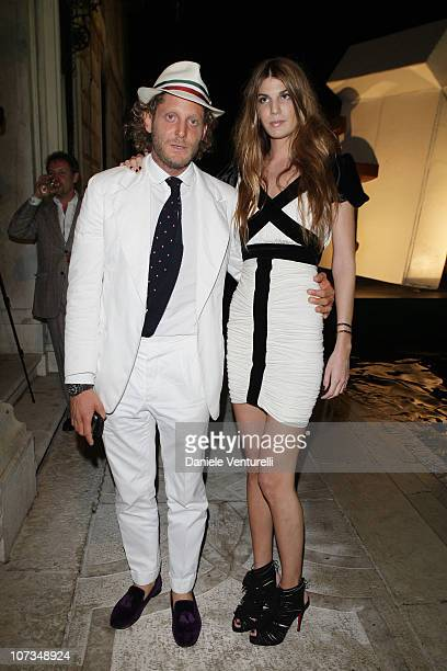 Lapo Elkann and Bianca Brandolini D'Adda attend the Mapping The Studio 'L'Uomo Vogue' Art Issue Opening Party at the Palazzo Grassi during the 53rd...