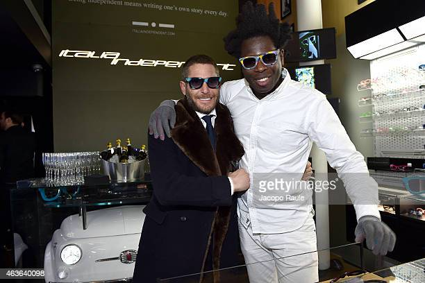 Lapo Elkann and Bradley Theodore attend boutique opening at Italia-Independent Boutique during Mercedes-Benz Fashion Week Fall 2015 on February 16,...