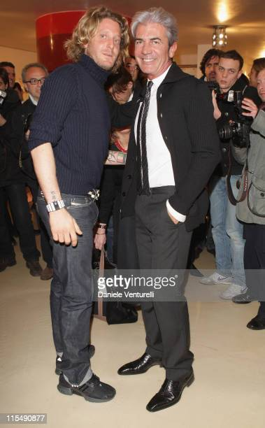Lapo Elkann and Cesare Paciotti attend the Trunk Show Italian Independent as part of Milan Fashion Week Autumn/Winter 2008/09 at Banner on February...