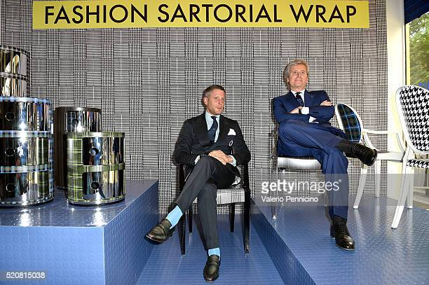 Lapo Elkann and Claudio Luti attend KartellLapo It's A Wrap Party on April 12 2016 in Milan Italy