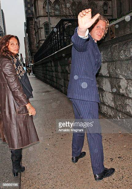 Lapo Elkann and designer Diane Von Furstenberg leave a memorial service for Count Roffredo Gaetani at St Patrick's Cathedral January 23 2006 in New...