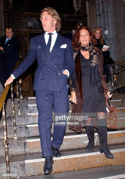 Lapo Elkann and designer Diane Von Furstenberg leave a memorial service for Count Roffredo Gaetani at St. Patrick's Cathedral January 23, 2006 in New...