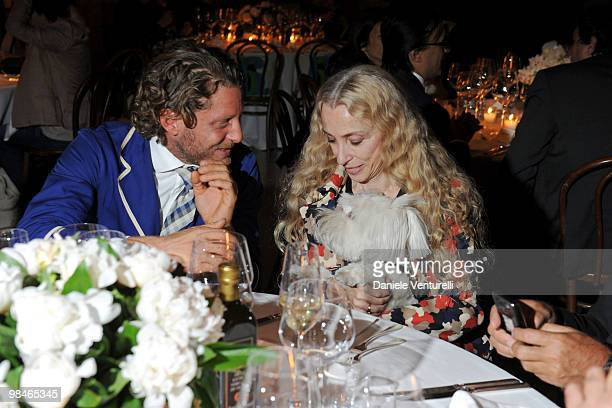 Lapo Elkann and Franca Sozzani attend Stella McCartney And Established & Sons Dinner on April 14, 2010 in Milan, Italy.