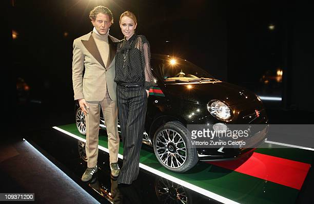 Lapo Elkann and Frida Giannini attend the 500 By Gucci Photocall during the Milan Fashion Week Womenswear Autumn/Winter 2011 on February 23, 2011 in...