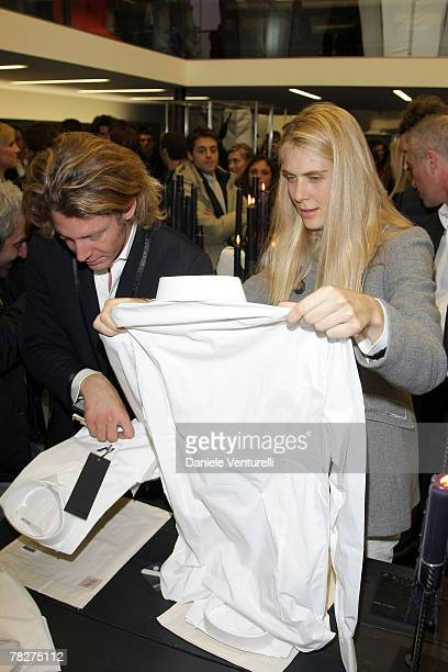 Lapo Elkann and Lavinia Borromeo attends the launch party of 'Italia Independent Ambassador' at the fashion store San Carlo on December 5 2007 in...