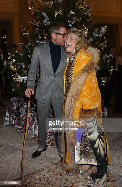 Lapo Elkann and Marta Marzotto attend the Fondazione IEO CCM Christmas Dinner For on December 16 2014 in Monza Italy