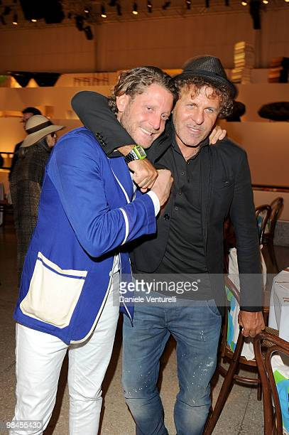 Lapo Elkann and Renzo Rosso attend the Stella McCartney And Established Sons Dinner on April 14 2010 in Milan Italy