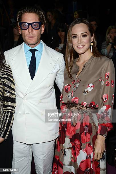 Lapo Elkann and Tamara Falco attends the 'Frida Giannini First Fashion Show In China' Front Row on April 21 2012 in Shanghai China