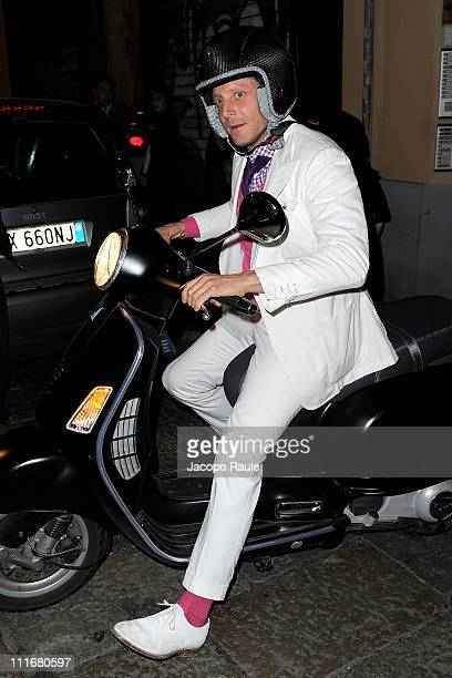 Lapo Elkann arrives on a scooter to attend Italia Independent Event on April 5 2011 in Milan Italy