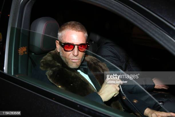 Lapo Elkann arrives to the wedding party of Stavros Niarchos III. And Dasha Zhukova on January 17, 2020 at Hotel Kulm in St. Moritz, Switzerland.