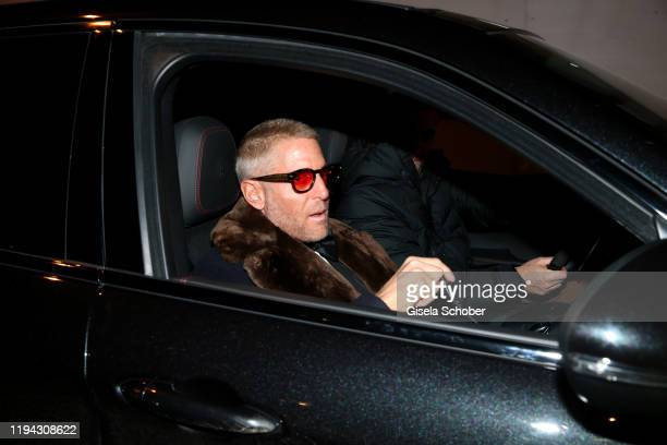 Lapo Elkann arrives to the wedding party of Stavros Niarchos III and Dasha Zhukova on January 17 2020 at Hotel Kulm in St Moritz Switzerland