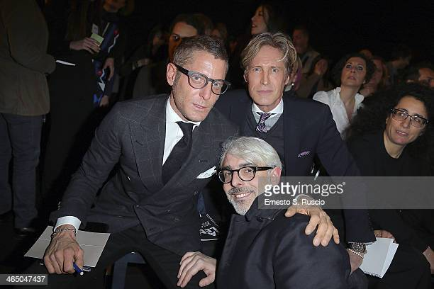 Lapo Elkann Bruce Hoeksema and Lupo Lanzara attend the Accademia Costume Moda fashion show as part of AltaRoma Fashion Week Spring/Summer 2014 on...