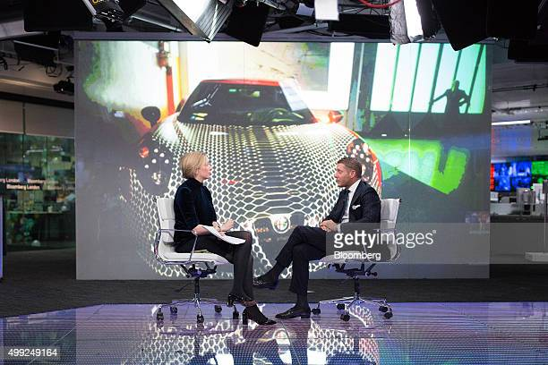 Lapo Elkann chairman of Italia Independent Group and Garage Italia Customs right speaks to Francine Lacqua editoratlarge and anchor for Bloomberg...