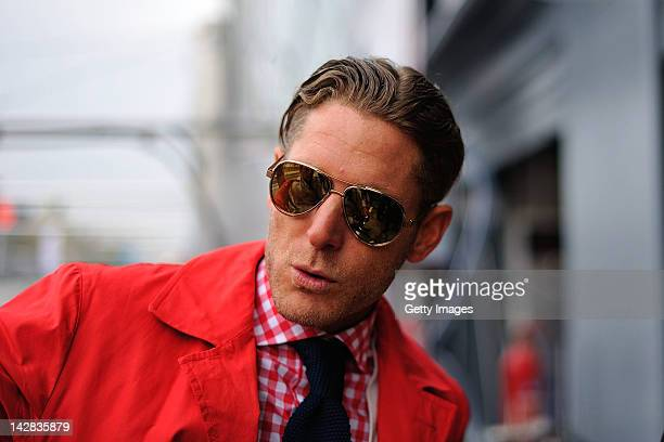 Lapo Elkann is seen in the garage area during the Blancpain GT Endurance test day one at Autodromo di Monza on April 13 2012 in Monza Italy