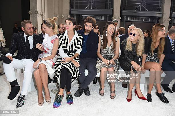 Lapo Elkann Isabella Borromeo Marta Ferri Carlo Borromeo Melusine Ruspoli Franca Sozzani and Bianca Brandolini d'Adda attend the Giamba Show as part...