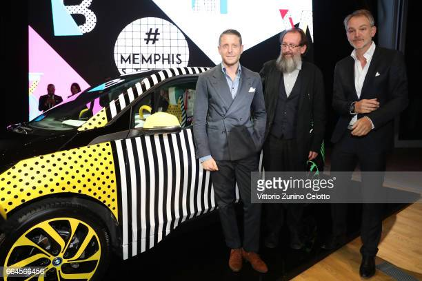 Lapo Elkann Michele De Lucchi and Adrian van Hooydonk attend Memphis event during Milan Design Week 2017 on April 4 2017 in Milan Italy