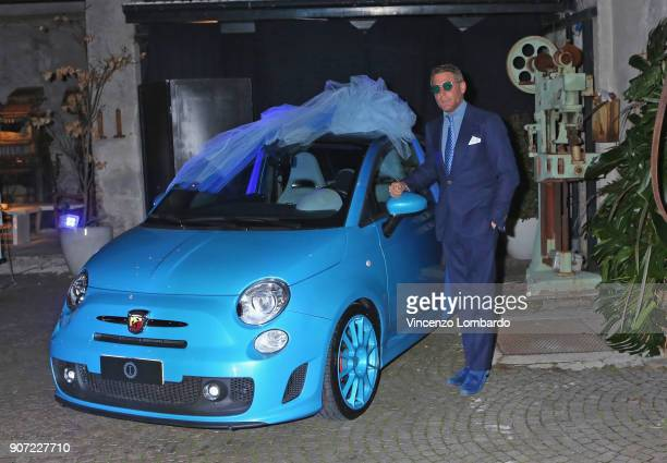 Lapo Elkann poses for a photo with his wedding present for the newlyweds on January 19 2018 in Milan Italy