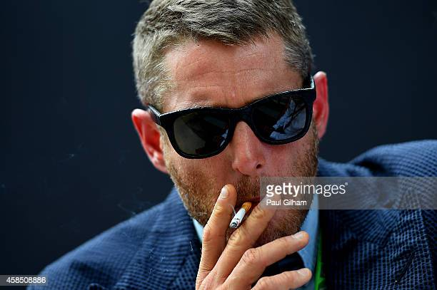 Lapo Elkann speaks with members of the media in the paddock during previews ahead of the Brazilian Formula One Grand Prix at Autodromo Jose Carlos...