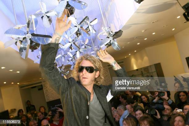 Lapo Elkann wearing the first sunglasses made entirley in carbon during the 'Italia Independent' press conference in Florence Italy January 10 2007