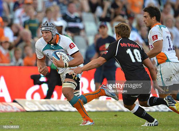 Lappies Labuschagne in action during the Super Rugby match between Toyota Cheetahs and The Sharks at Free State Stadium on February 23 2013 in...