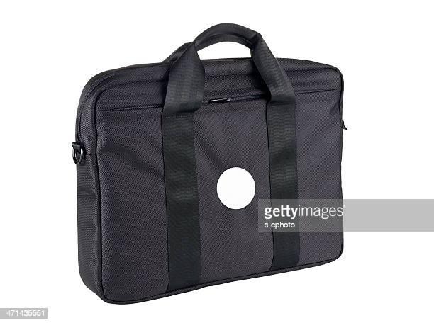 laptop bag with blank sticker - dokterstas stockfoto's en -beelden