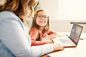 laptop computer education mother children daughter girl familiy childhood