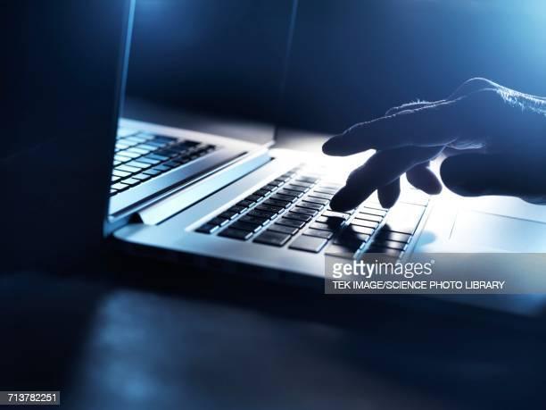 laptop computer use - verbrechen stock-fotos und bilder