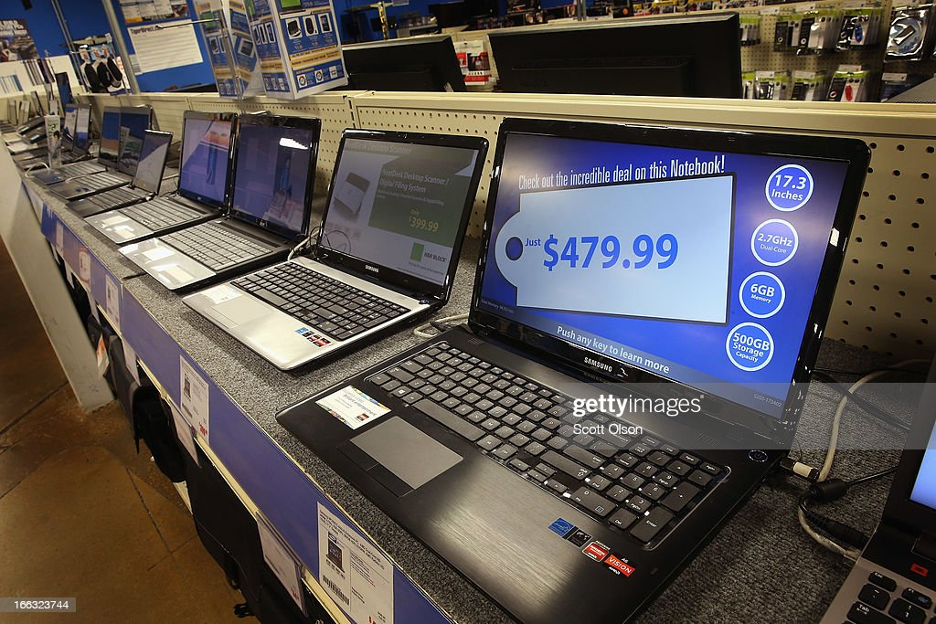 Laptop computers are offered for sale at a Tiger Direct store on April 11, 2013 in Chicago, Illinois. According to a recent report, sales of personal computers have been experiencing double-digit declines as consumers look toward tablets and smart phones to fill their computing needs.