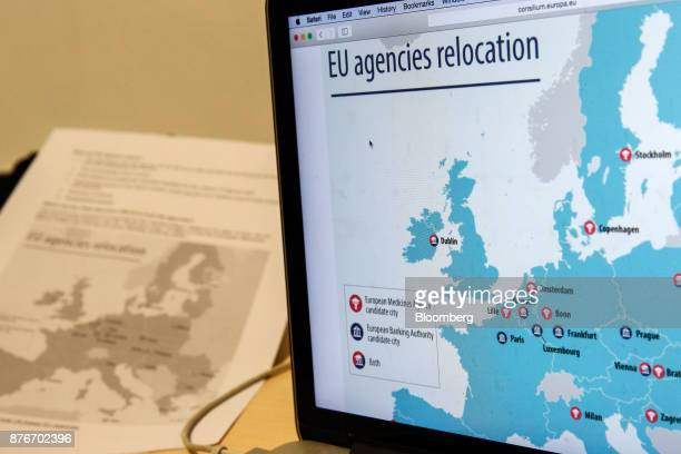 A laptop displays a map of candidate city locations for the relocation of the European Banking Authority and EuropeanMedicinesAgency in this...