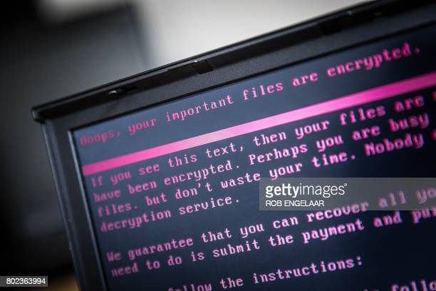 A laptop displays a message after being infected by a ransomware as part of a worldwide cyberattack on June 27 2017 in Geldrop The unprecedented...