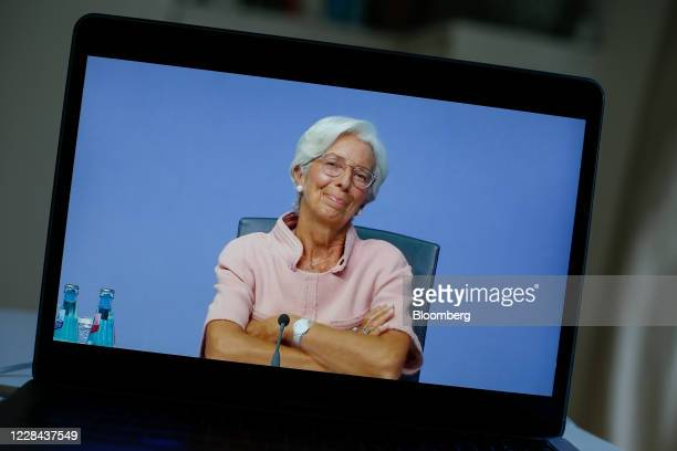 A laptop displays Christine Lagarde president of the European Central Bank during a live stream video of the central bank's virtual rate decision...