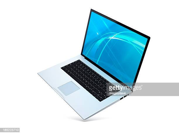 laptop floating angled open - in de lucht zwevend stockfoto's en -beelden