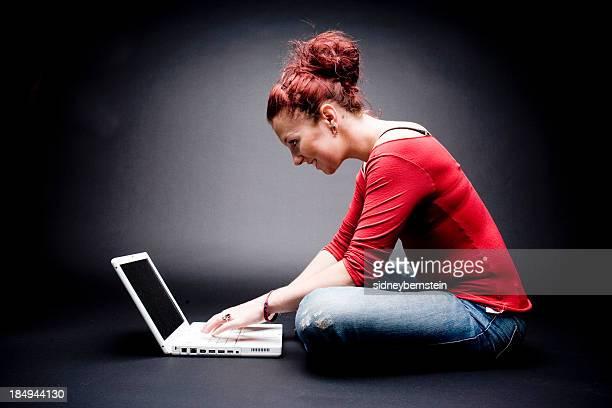 Laptop Girl Red Shirt
