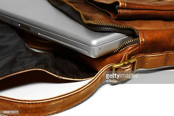 Laptop in leather bag