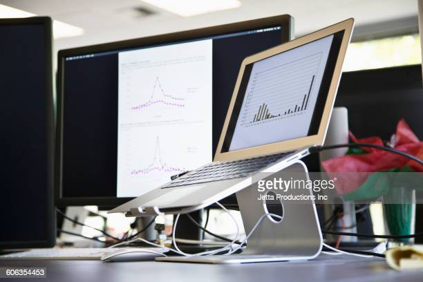 Laptop in stand on office desk