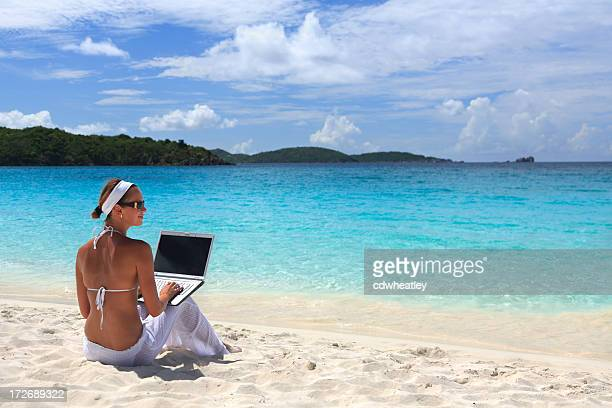 laptop in the Caribbean