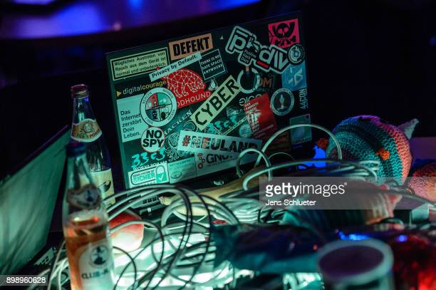 A laptop is standing on a table during the 34C3 Chaos Communication Congress of the Chaos Computer Club on December 27 2017 in Leipzig Germany The...