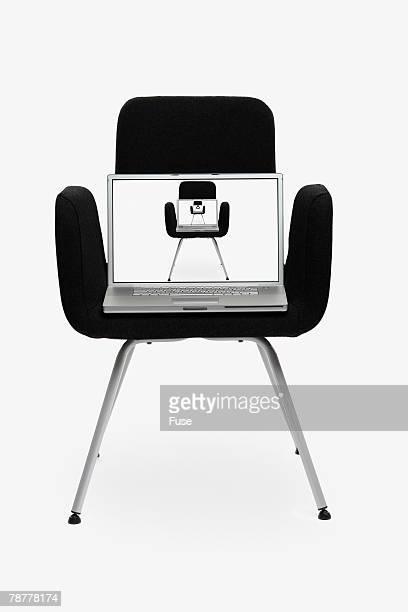 Laptop on Modern Chair