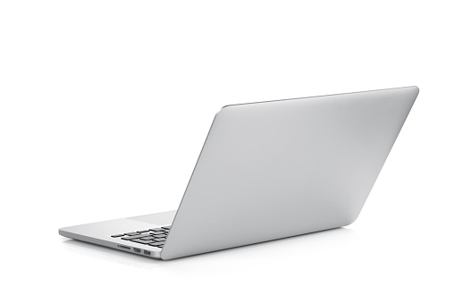 A laptop open against a white background 178083720