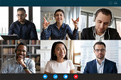Laptop screen view six multiethnic people involved in group videocall