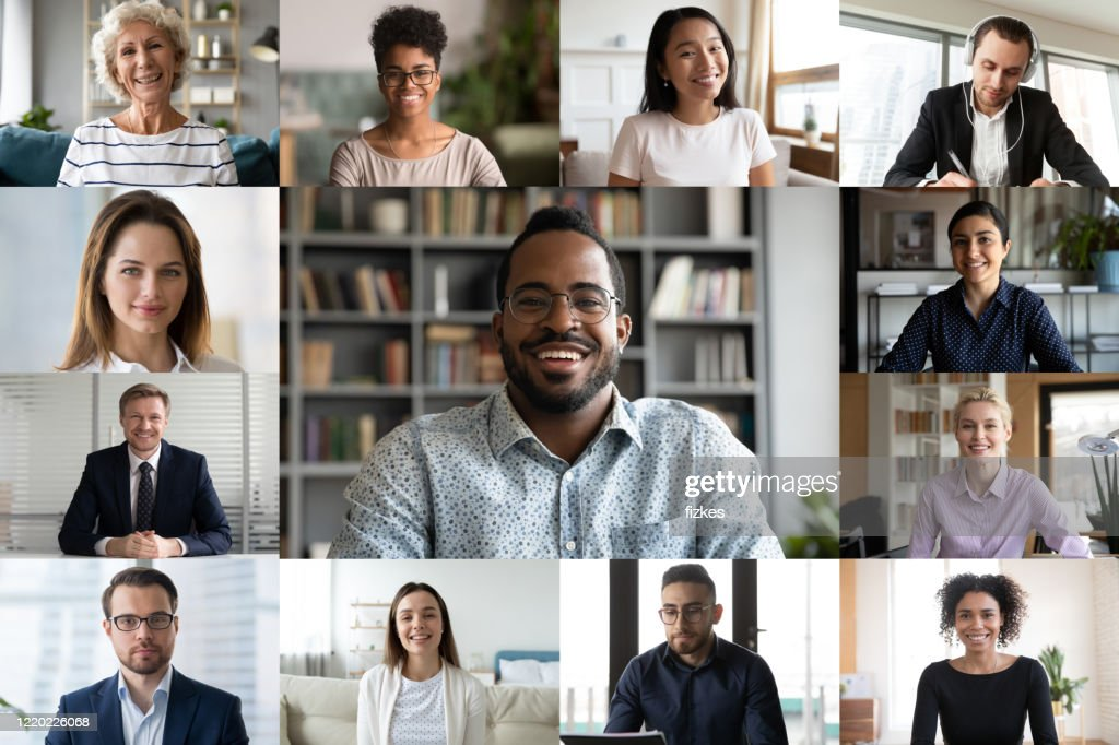 Laptop screen webcam view diverse people engaged in group videocall : Stock Photo