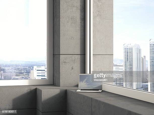 Laptop standing on window sill in a modern high-rise building, 3D Rendering