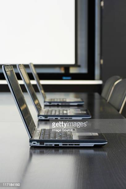 Laptops in conference room