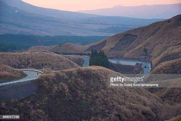 laputa road northern edge of aso caldera - 熊本県 ストックフォトと画像