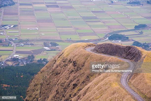 laputa road northern edge of aso caldera - minamiaso kumamoto stock pictures, royalty-free photos & images